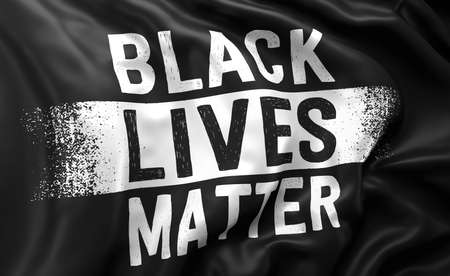 Black Lives Matter white text on a black flag, blowing in the wind. Full page flying flag. 3d illustration.
