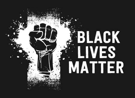 Raised fist illustration and Black Lives Matter white text, as a symbol for resistance, on black background Imagens