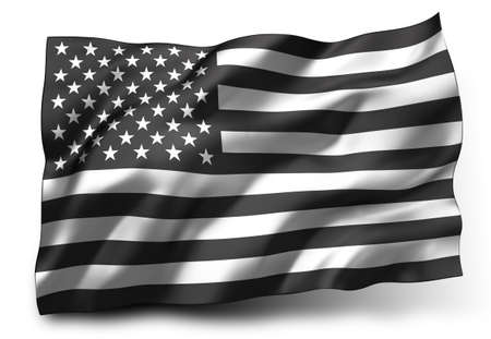 Black lives matter flag blowing in the wind. Striped black and white USA flying flag, isolated on white background. 3d illustration.