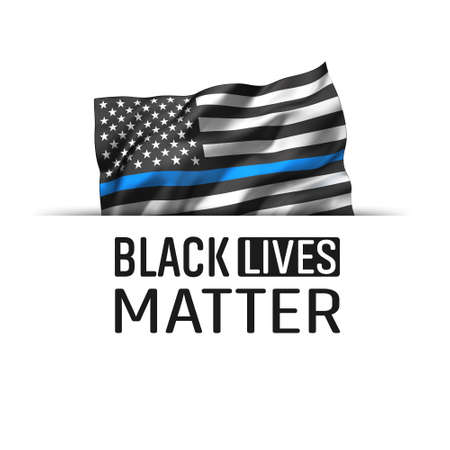 Black Lives Matter icon. Striped black and white USA flying flag, with a blue line, isolated on white.
