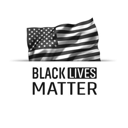Black Lives Matter icon. Striped black and white USA flying flag, isolated on white. Zdjęcie Seryjne - 153842419