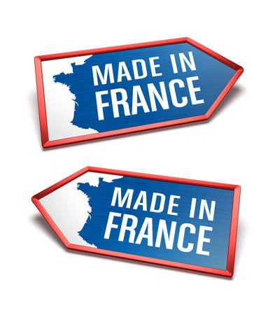 Made in France - Blue, white and blue labels with a map of France. French certificate inside arrow icon shapes, pointing left and right. Zdjęcie Seryjne