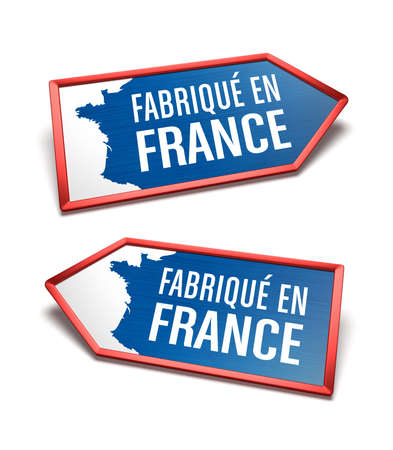 Made in France - Blue, white and blue labels with a map of France, text in French language. French certificate inside arrow icon shapes, pointing left and right. Zdjęcie Seryjne - 154193032
