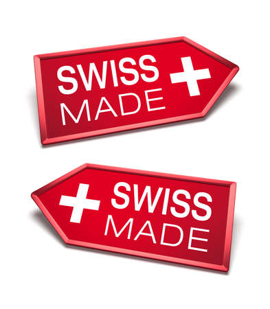 Made in Switzerland. Swiss made certificate inside arrow icon shapes, pointing left and right.