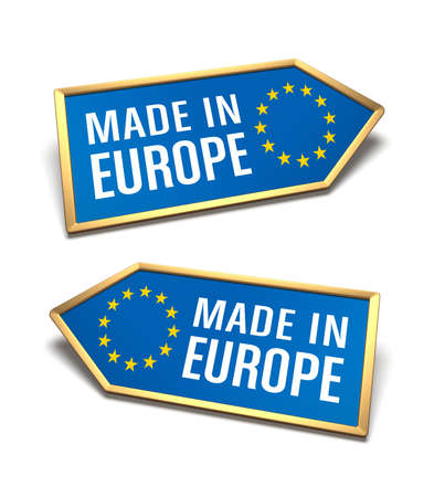 Made in Europe labels isolated on white. European Union certificate inside arrow icon shapes, blue background, gold borders and yellow stars symbol, pointing left and right. Stok Fotoğraf