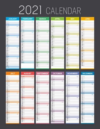 Year 2021 colorful calendar, with weeks numbers, on black background. Vector template.