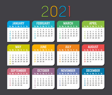 Colorful year 2021 calendar isolated on a dark background