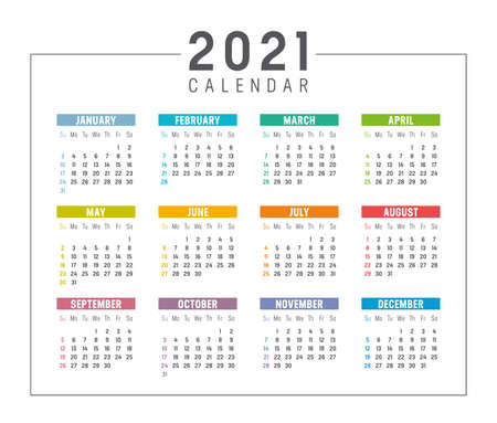 Colorful year 2021 calendar isolated on white background. Week starts Sunday. Vector template. Zdjęcie Seryjne - 154477920