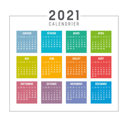 Colorful year 2021 calendar isolated, in French language, on white background. Vector template. Zdjęcie Seryjne - 154477925