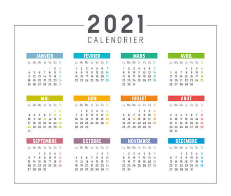 Colorful year 2021 calendar isolated, in French language, on white background. Vector template. Ilustracja