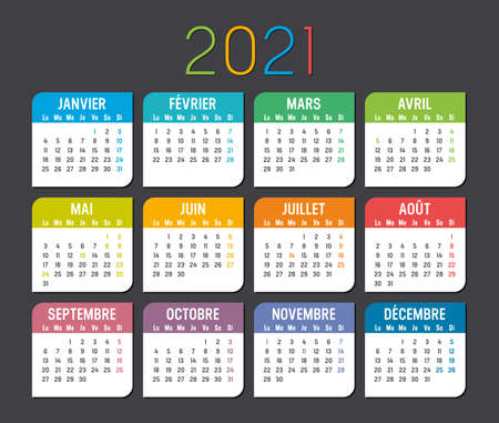 Colorful year 2021 calendar, in French language, isolated on a dark background