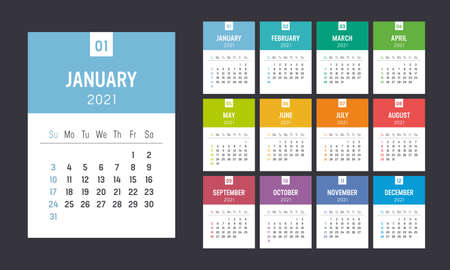 Year 2021 colorful minimalist monthly calendar on black background. Week starts Sunday. Vector template. Ilustracja