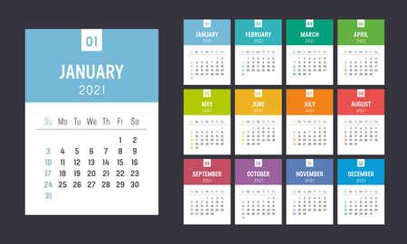 Year 2021 colorful minimalist monthly calendar on black background. Week starts Sunday. Vector template. Çizim