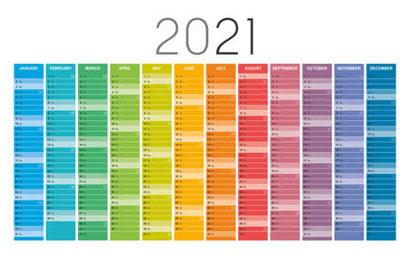 Year 2021 colorful wall calendar, with weeks numbers, on white background. Vector template. Zdjęcie Seryjne - 154477930