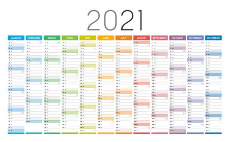 Year 2021 colorful wall calendar, with weeks numbers, on white background. Vector template.