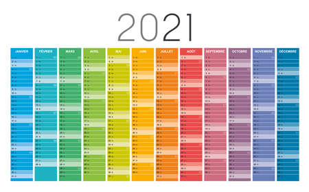 Year 2021 colorful wall calendar in French language, with weeks numbers, on white background. Vector template. Zdjęcie Seryjne - 154477932
