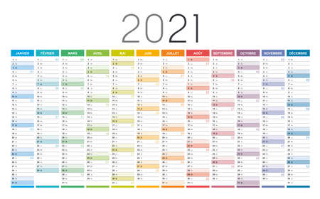 Year 2021 colorful wall calendar in French language, with weeks numbers, on white background. Vector template. Çizim