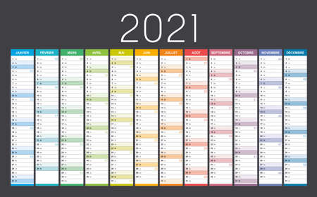 Year 2021 colorful wall calendar in French language, with weeks numbers, on black background. Vector template. Ilustracja