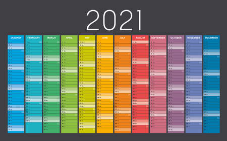 Year 2021 colorful wall calendar, with weeks numbers, on black background. Vector template. Ilustracja