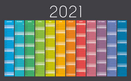 Year 2021 colorful wall calendar in French language, with weeks numbers, on black background. Vector template. Zdjęcie Seryjne - 154477939