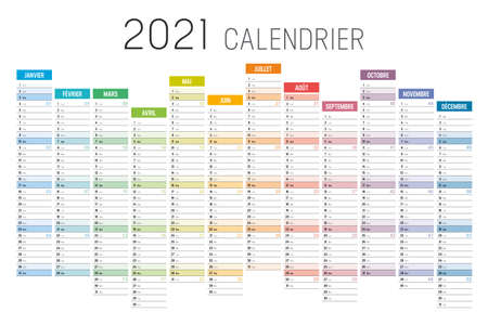 Year 2021 colorful unaligned calendar, in French language, on white background. Vector template.