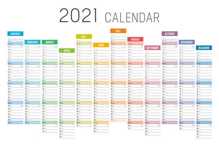 Year 2021 colorful unaligned calendar on white background. Vector template. Ilustracja