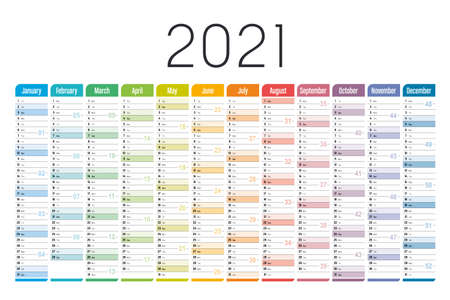 Year 2021 one page colorful calendar, on white background. Vector template. Ilustracja