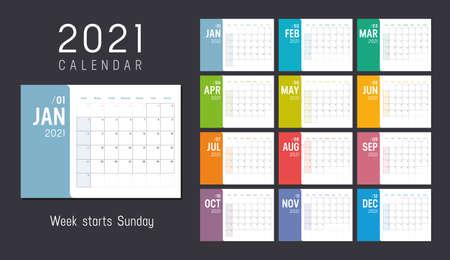 Year 2021 colorful minimalist monthly calendar on black background. Week starts Sunday. Vector template. Zdjęcie Seryjne - 155079410