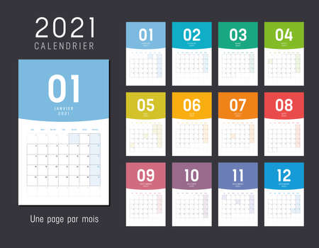 Year 2021 monthly desk calendar, in French language. Vector template.
