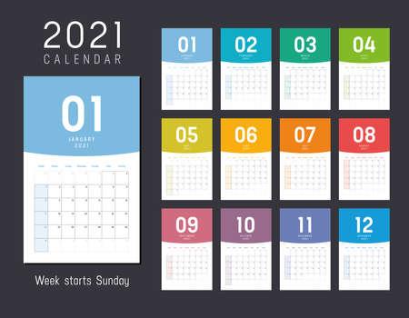 Year 2021 monthly desk calendar. Week starts Sunday. Vector template. Çizim