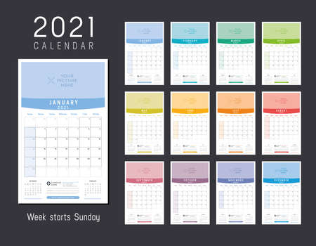 Year 2021 colorful calendar. Monthly one page wall agenda. Week starts Sunday. Vector template. Ilustracja