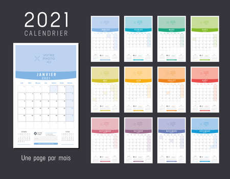 Year 2021 colorful calendar, in French language. Monthly one page wall agenda. Week starts Monday. Vector template. Ilustracja