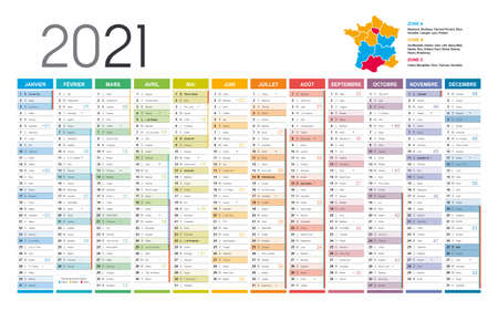 Year 2021 colorful wall calendar, in French language, on white background. Vector template