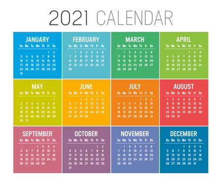 Colorful year 2021 calendar isolated on white background. Week starts Sunday. Vector template. Zdjęcie Seryjne - 155079417