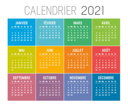 Colorful year 2021 calendar, in French language, on white background. Week starts Sunday. Vector template.