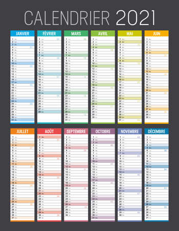 Year 2021 colorful calendar, in French language, on black background. Vector template.