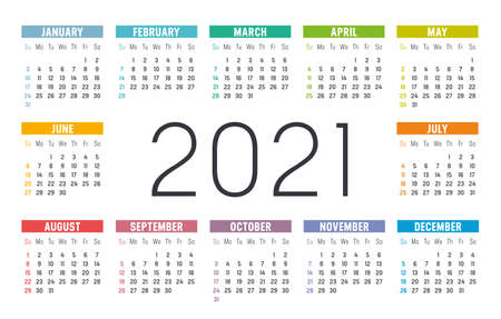 Year 2021 one page colorful calendar, on white background. Vector template. Zdjęcie Seryjne - 155079421
