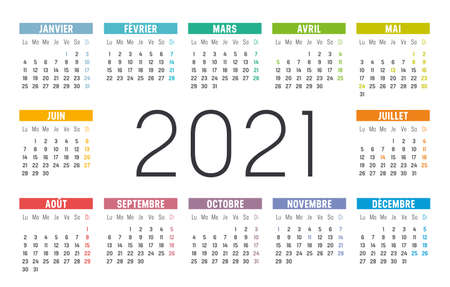 Year 2021 one page colorful calendar, in French language, on white background. Vector template.