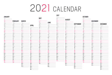 Year 2020 unaligned calendar on white background. Vector template. Ilustracja