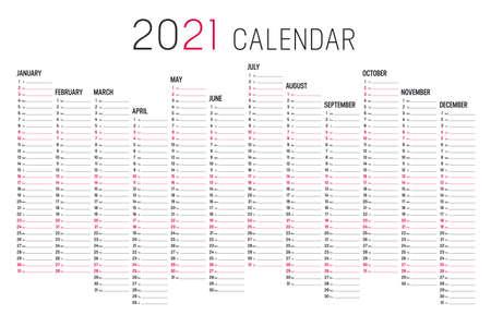 Year 2020 unaligned calendar on white background. Vector template. Zdjęcie Seryjne - 154870533