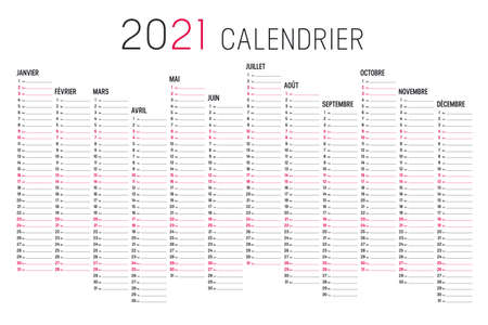 Year 2021 black and red calendar, in French language, on white background. Vector template.