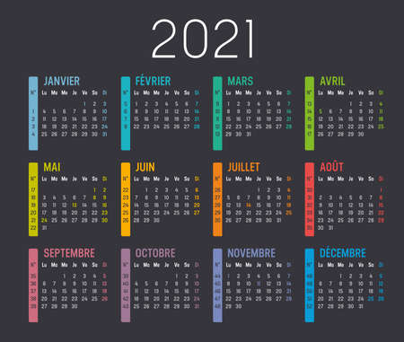 Colorful year 2021 calendar, with weeks numbers, in French language, isolated on a dark background. Vector template.
