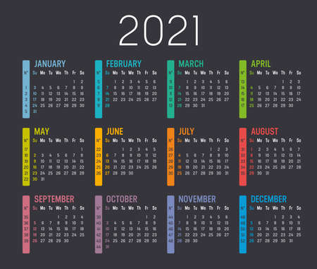 Colorful year 2021 calendar, with weeks numbers, isolated on a dark background. Vector template.