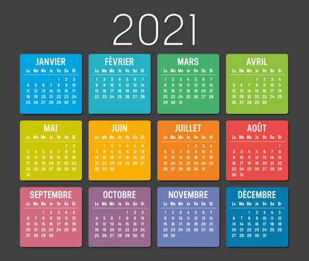 Year 2021 colorful minimalist calendar, in French language, on black background. Vector template. Ilustracja