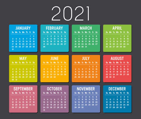 Colorful year 2021 calendar isolated on black background. Vector Template. Ilustracja