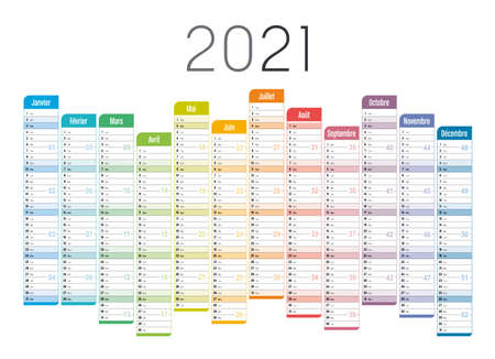 Year 2021 one page unaligned calendar, in French language, multi colored on white background. Vector template.