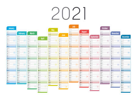 Year 2021 one page unaligned calendar, multi colored on white background. Vector template.