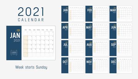 Year 2021 minimalist monthly calendar. Week starts Sunday. Vector template.