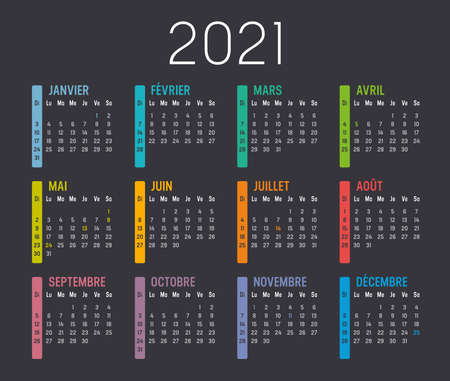 Colorful year 2021 calendar, in French language, isolated on a dark background. Vector template.