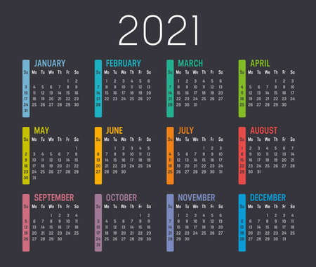 Colorful year 2021 calendar, isolated on a dark background. Vector template. 向量圖像